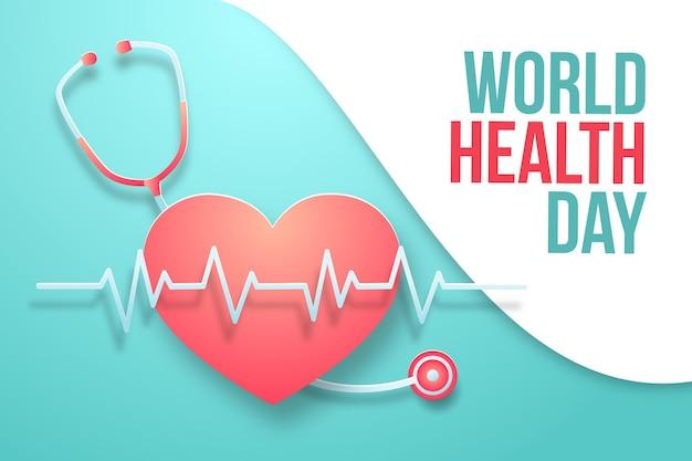 Ilustracja światowego dnia zdrowia w stylu papieru z sercem i stetoskopem