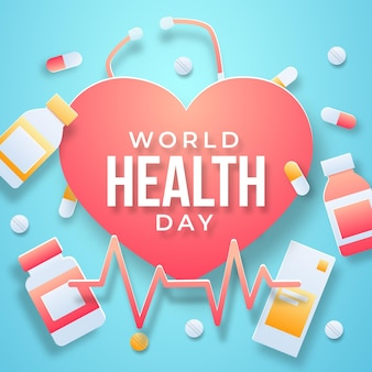 Ilustracja światowego dnia zdrowia w stylu papieru z sercem i tabletkami