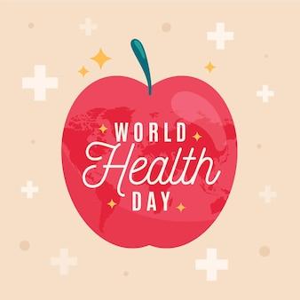 Ilustracja światowego dnia zdrowia z jabłkiem