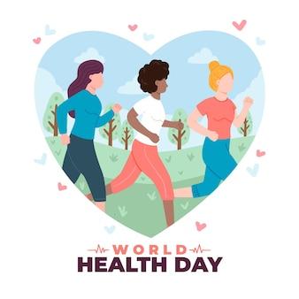 Ilustracja światowego dnia zdrowia z ludźmi uprawiającymi jogging