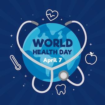 Ilustracja światowego dnia zdrowia z planetą i stetoskopem