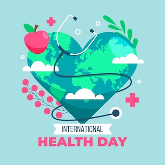 Ilustracja światowego dnia zdrowia z planetą w kształcie serca i stetoskopem