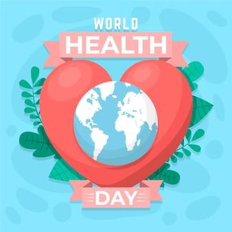 Ilustracja światowego dnia zdrowia z sercem i planetą