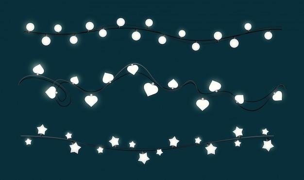 Ilustracja świecące lampki świąteczne. pojedynczo na białym tle.