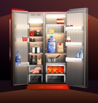 Ilustracja świecące otwarte lodówki