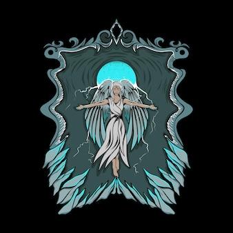 Ilustracja świecącej dziewczyny anioła z ornamentem