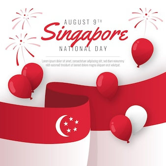 Ilustracja święta Narodowego Singapuru Premium Wektorów