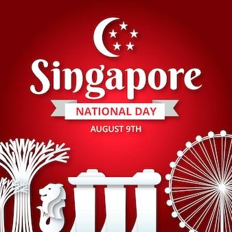 Ilustracja święta Narodowego W Stylu Papieru W Singapurze Darmowych Wektorów