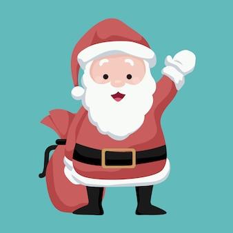 Ilustracja świętego mikołaja machającego radośnie z torbą prezentów