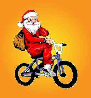 Ilustracja świętego mikołaja niosącego worek na rowerze