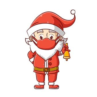 Ilustracja świętego mikołaja przedstawia świąteczną czapkę i maskę oraz trzyma dzwonek na boże narodzenie