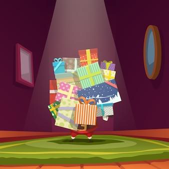 Ilustracja świętego mikołaja trzyma kilka prezentów w pomieszczeniach