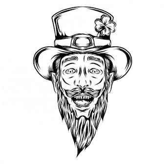Ilustracja święty patryk z kapeluszem i szczęśliwą twarzą przerażenia