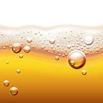 Ilustracja świeżego piwa lekkiego z bąbelkami gazu bursztynowe płynne tło z fali i pianki