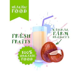 Ilustracja świeżych soków kokosowych produkty żywnościowe naturalnych produktów rolnych etykieta nad farbą splash