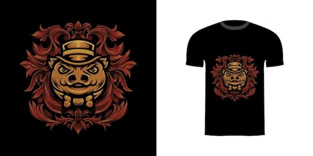 Ilustracja świnia bos z ornamentem grawerującym do projektu koszulki