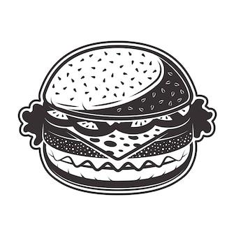 Ilustracja sylwetka burger w trybie monochromatycznym na białym tle