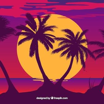 Ilustracja sylwetka drzewa palmowego