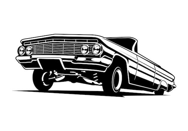 Ilustracja sylwetka klasycznego samochodu lowrider w czerni i bieli