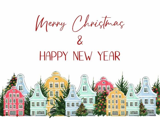Ilustracja, sylwetka miasta z choinką, szablon na pocztówkę, boże narodzenie, wesołych świąt, nowy rok