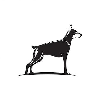 Ilustracja sylwetka pies doberman