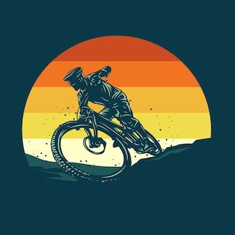 Ilustracja sylwetka rower górski
