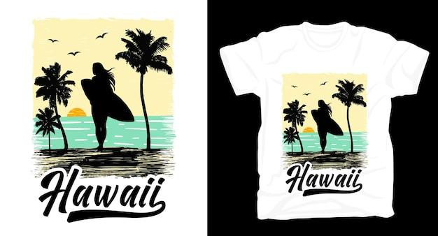 Ilustracja sylwetka surfingu na plaży z hawajskim projektem koszulki typografii
