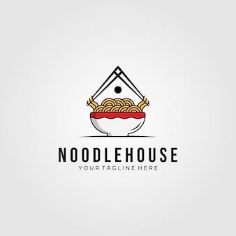 Ilustracja symbol logo żywności domu makaron