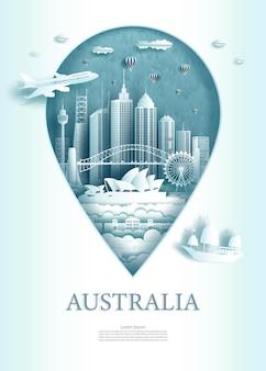 Ilustracja symbol punktu pin z zabytkami architektury starożytnej australii