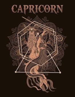 Ilustracja symbol zodiaku koziorożec vintage