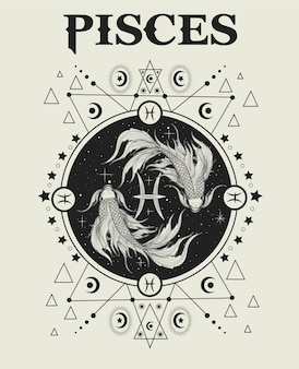 Ilustracja symbol zodiaku ryby