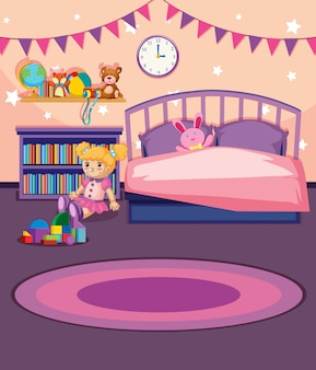Ilustracja sypialni dziewczyny