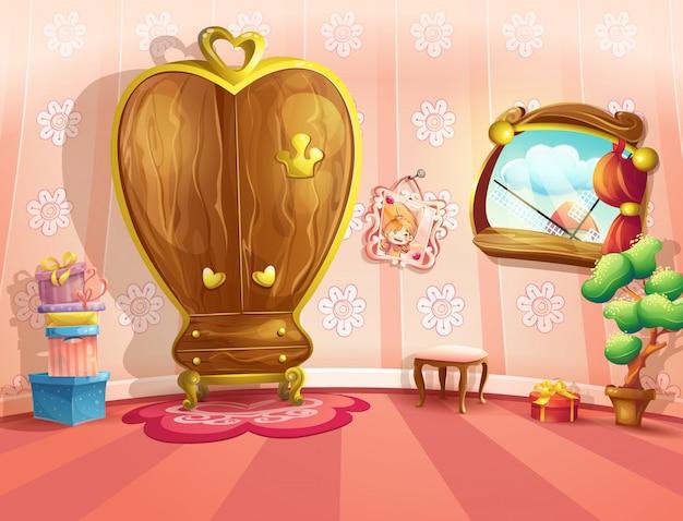Ilustracja sypialni księżniczki w stylu cartoon