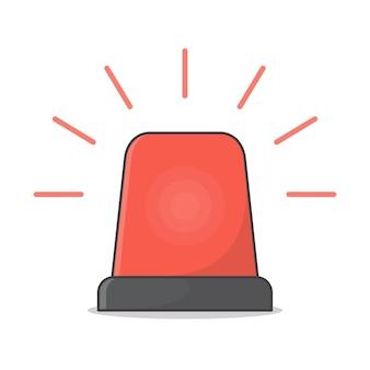 Ilustracja Syreny Red Flasher. Syrena Alarmowa Płaska Premium Wektorów