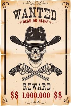Ilustracja szablon gończy plakat