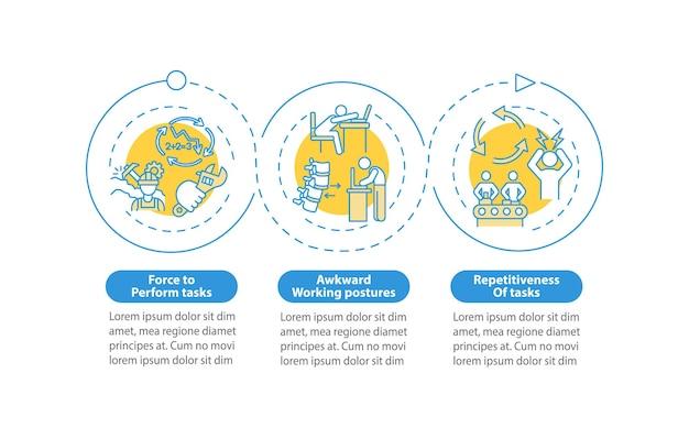 Ilustracja szablon infografika ergonomiczne czynniki drażniące
