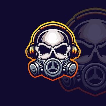 Ilustracja szablon logo esport maski czaszki