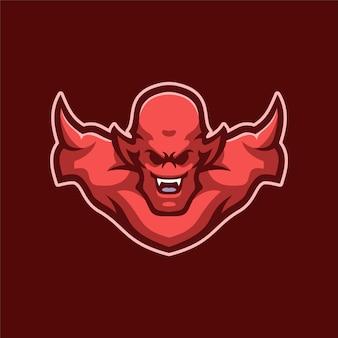 Ilustracja szablon logo głowa diabła. gry z logo e-sportu premium wektor