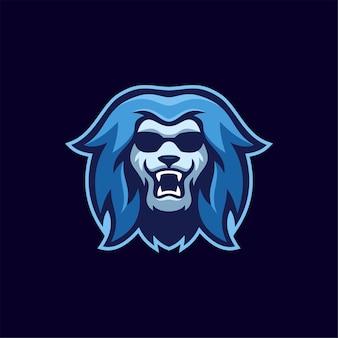 Ilustracja szablon logo głowa lwa zwierząt. gry z logo e-sportu premium wektor