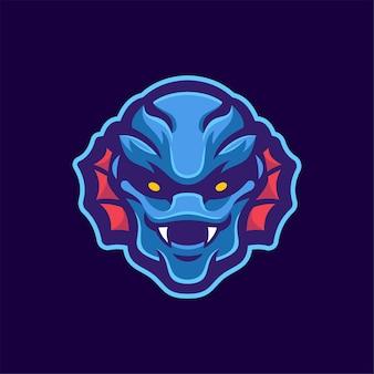 Ilustracja szablon logo głowa potwora. gry z logo e-sportu premium wektor