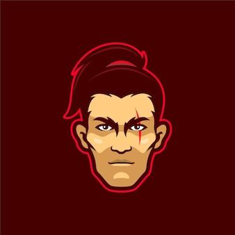 Ilustracja szablon logo głowa samuraja. gry z logo e-sportu premium wektor