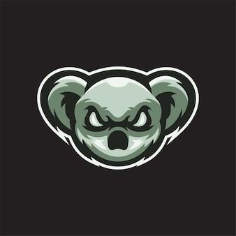 Ilustracja szablon logo głowa zwierząt koala. gry z logo e-sportu premium wektor