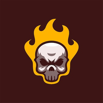 Ilustracja szablon logo głowy czaszki. gry z logo e-sportu premium wektor