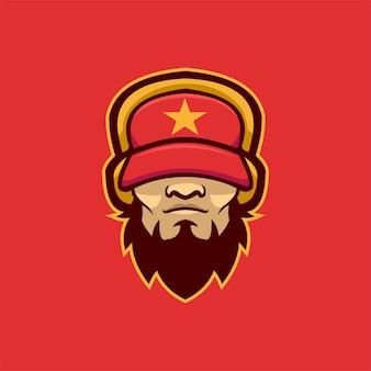 Ilustracja szablon logo głowy gangstera. gry z logo e-sportu premium wektor