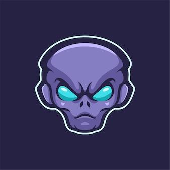 Ilustracja szablon logo głowy obcych. gry z logo e-sportu premium wektor