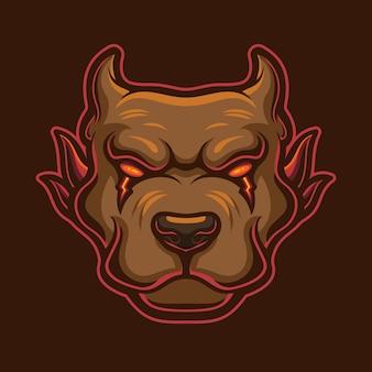 Ilustracja szablon logo głowy złego psa. gry z logo e-sportu