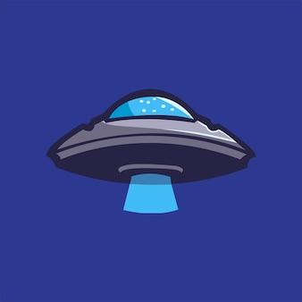 Ilustracja szablon logo kreskówka ufo. gry z logo e-sportu premium wektor