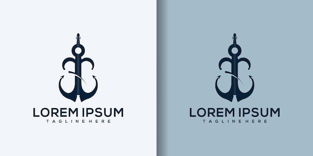 Ilustracja szablon logo muzyki kotwicy