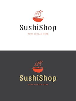 Ilustracja szablon logo restauracji sushi