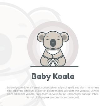 Ilustracja szablon logo słodkie dziecko koala